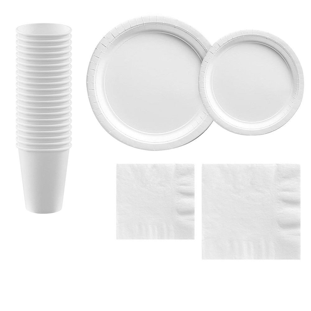 White Paper Tableware Kit for 20 Guests Image #1