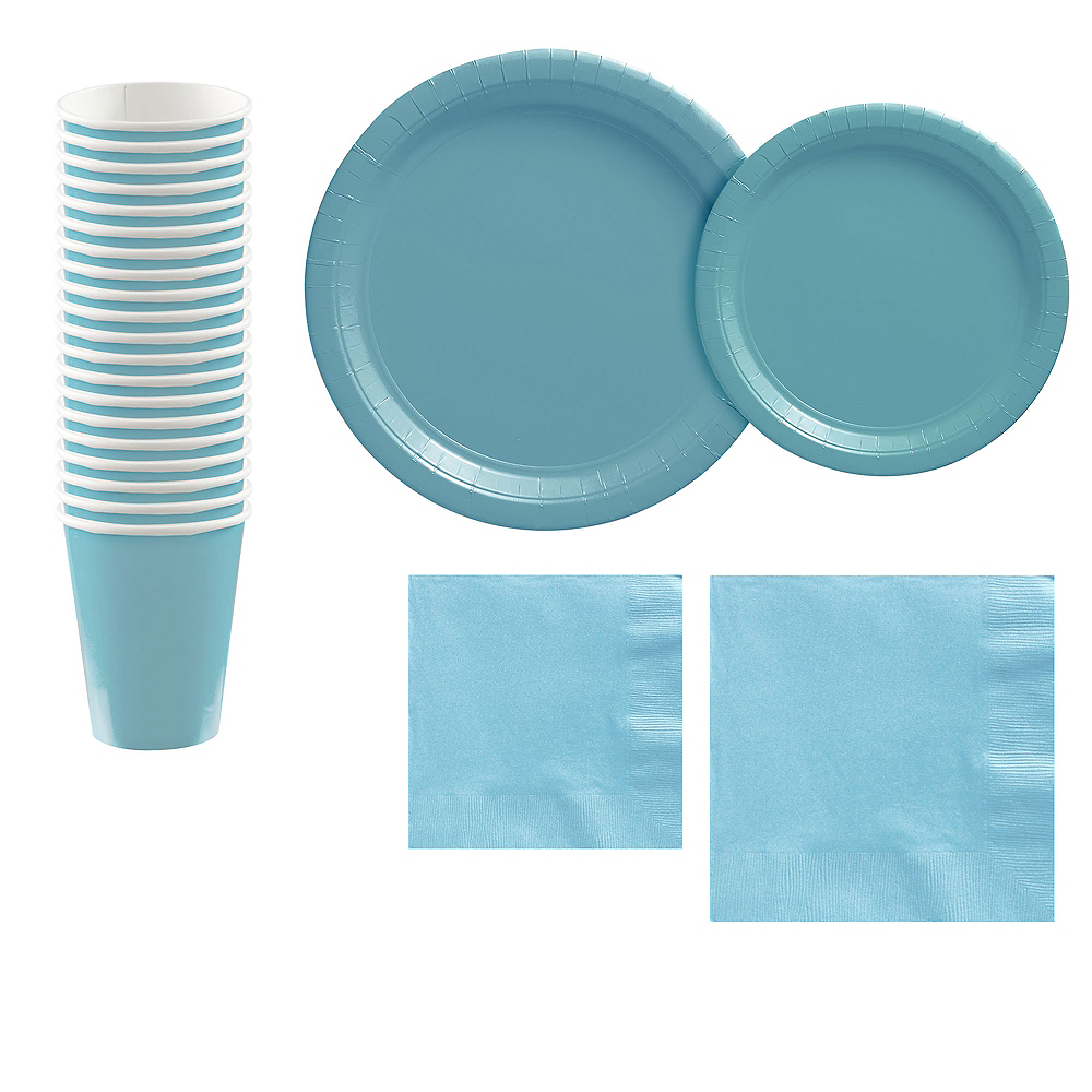 Caribbean Blue Paper Tableware Kit for 20 Guests Image #1