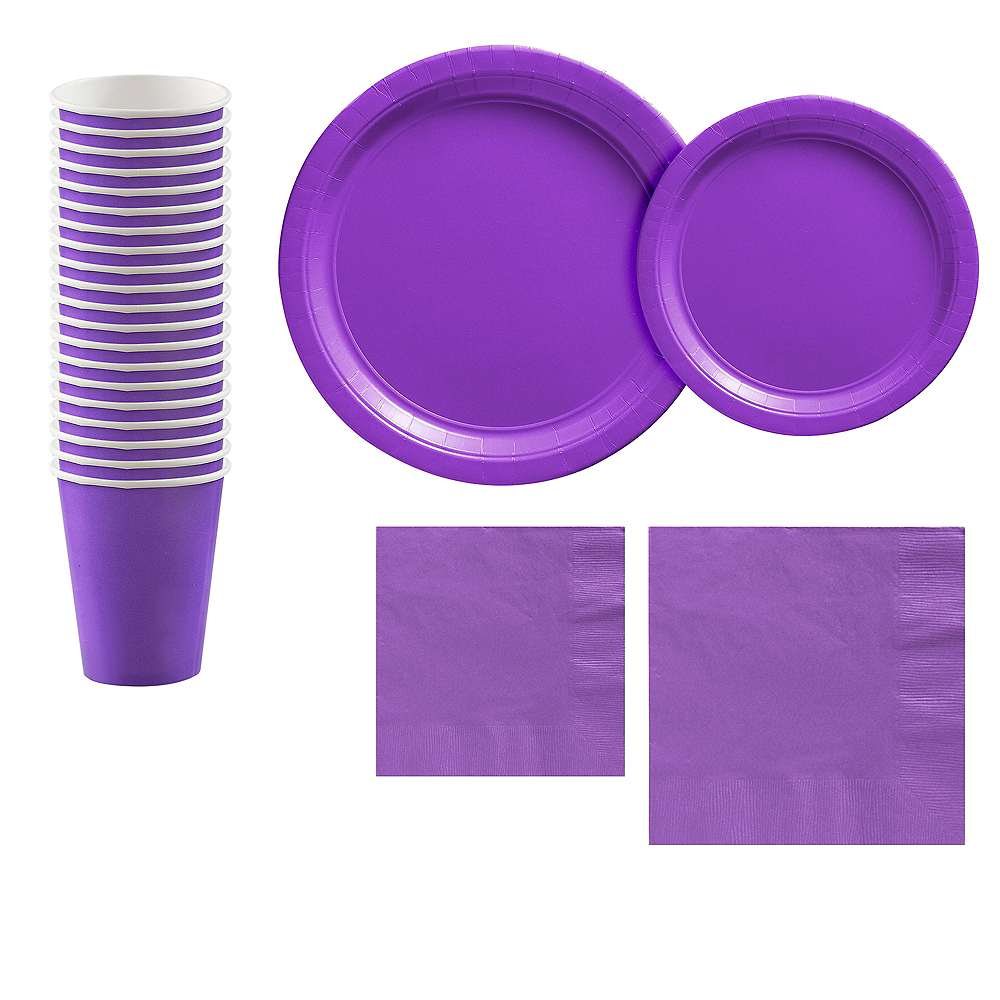 Purple Paper Tableware Kit for 20 Guests Image #1