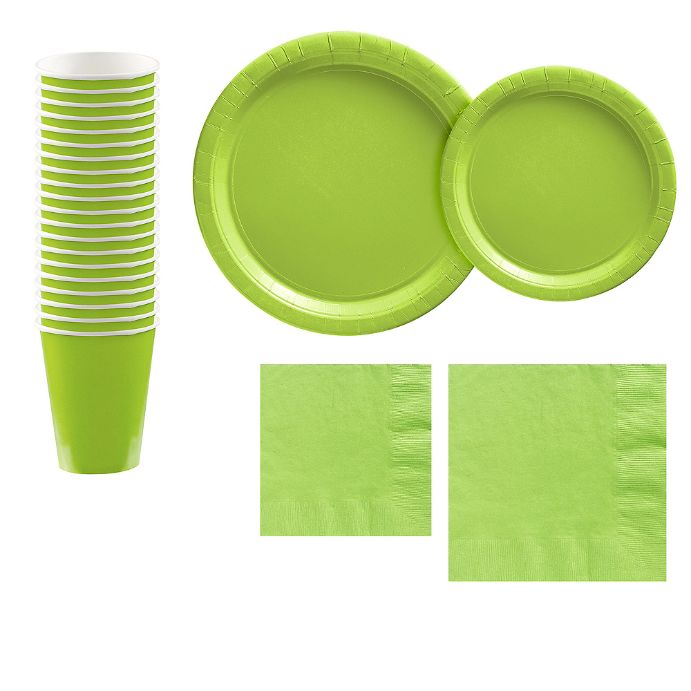 Kiwi Green Paper Tableware Kit for 20 Guests Image #1