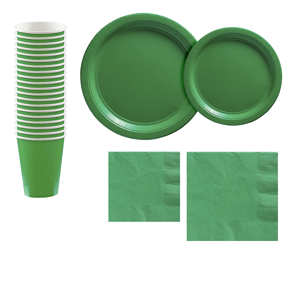 Festive Green Paper Tableware Kit for 20 Guests Image #1