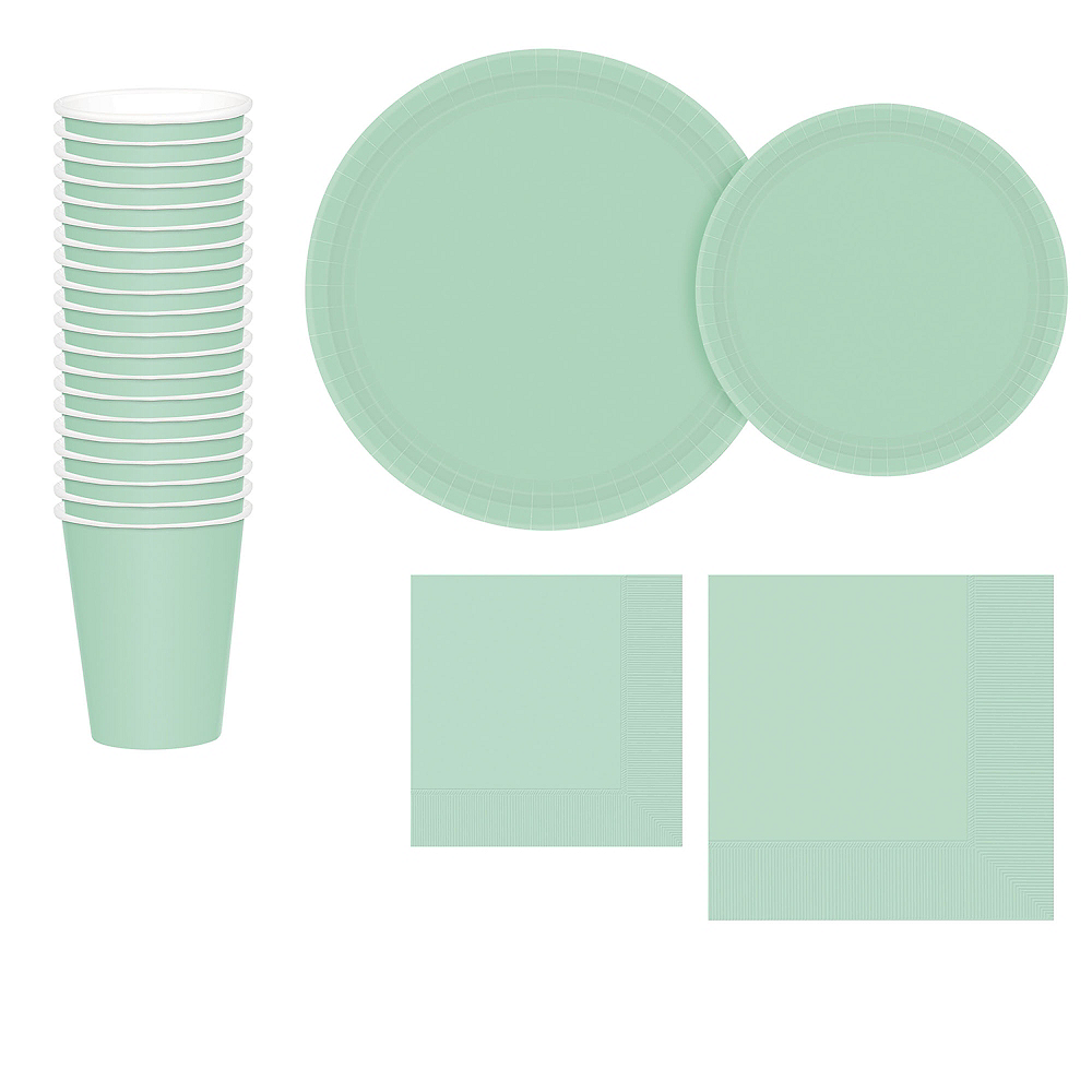 Mint Green Paper Tableware Kit for 20 Guests Image #1