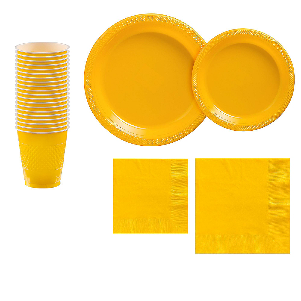 Sunshine Yellow Plastic Tableware Kit for 20 Guests Image #1