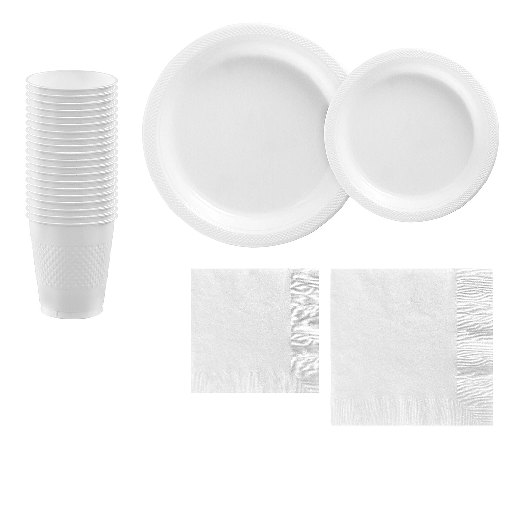 White Plastic Tableware Kit for 20 Guests Image #1
