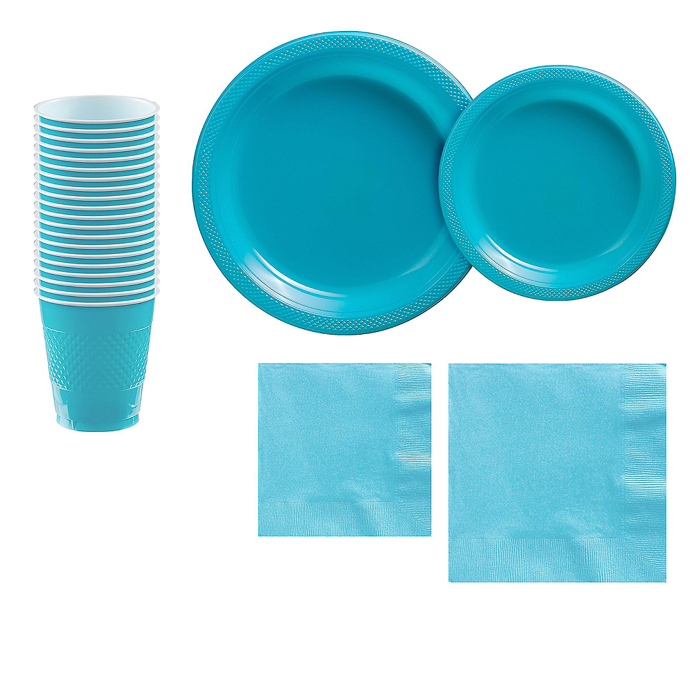 Caribbean Blue Plastic Tableware Kit for 20 Guests Image #1