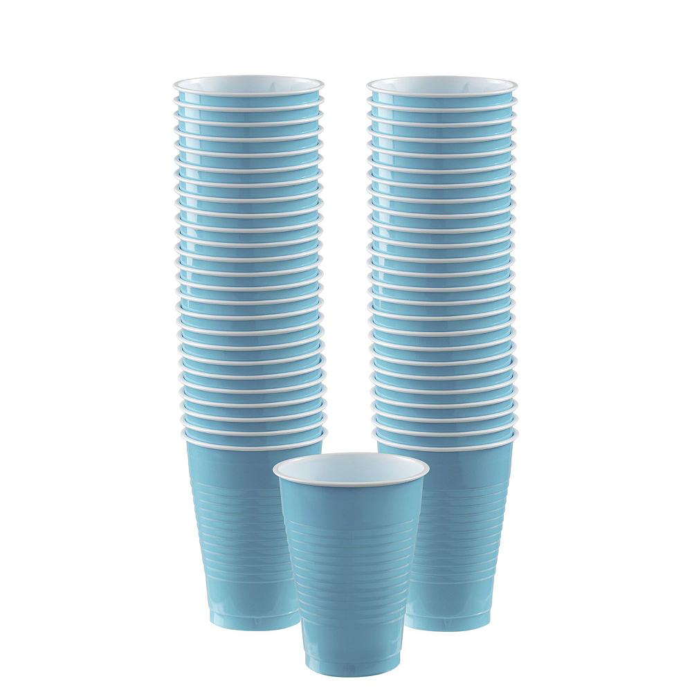 Caribbean Blue Plastic Tableware Kit for 20 Guests Image #6