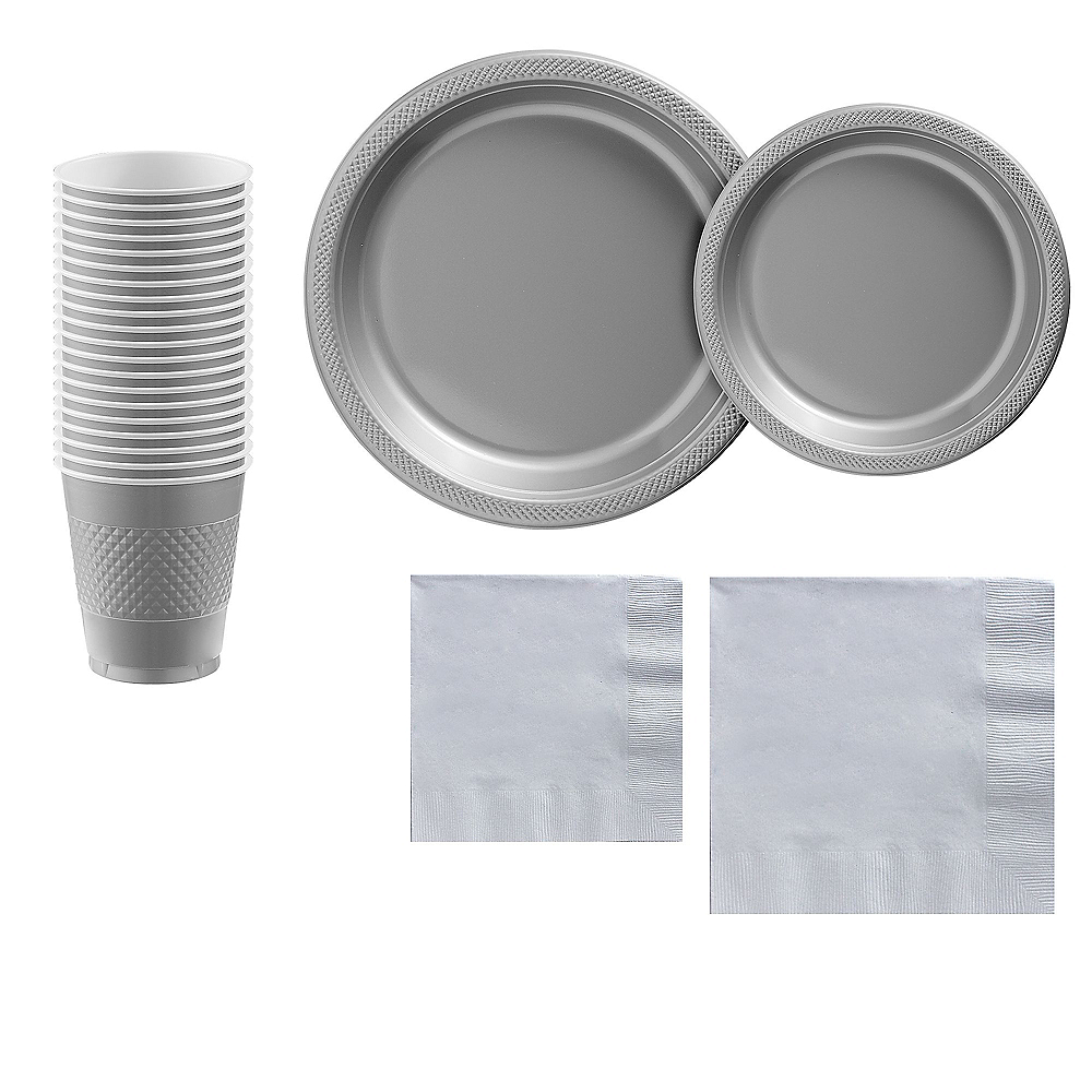 Silver Plastic Tableware Kit for 20 Guests Image #1