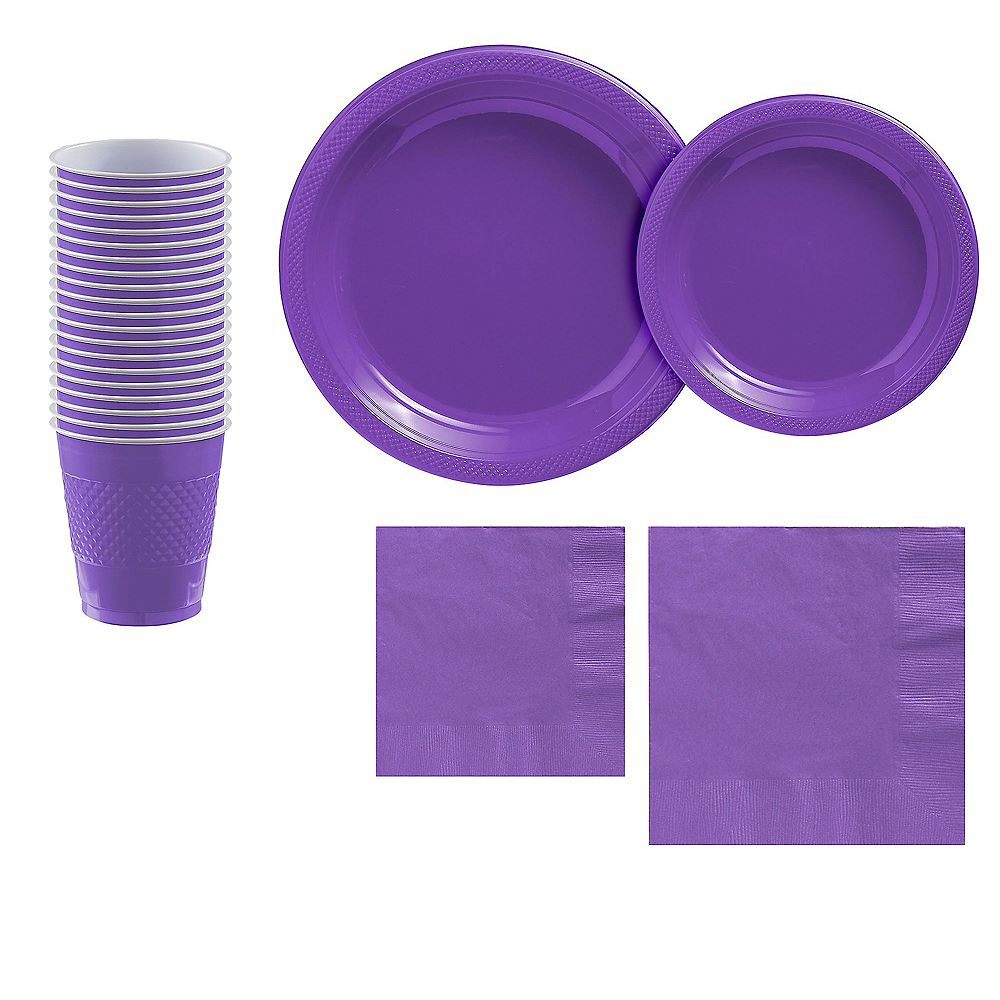 Purple Plastic Tableware Kit for 20 Guests Image #1