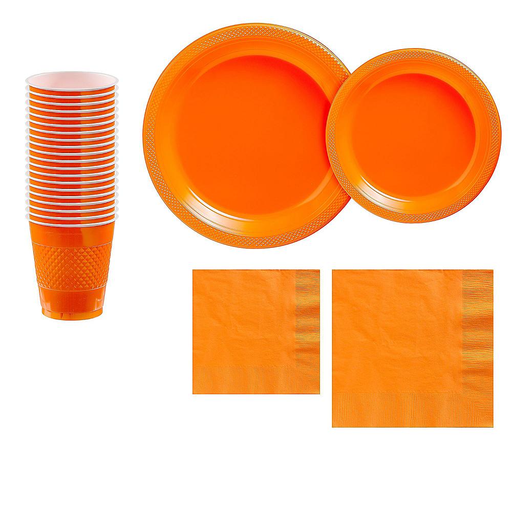 Orange Plastic Tableware Kit for 20 Guests Image #1