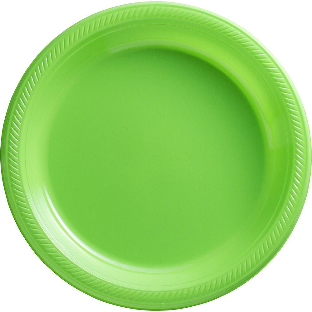 Kiwi Green Plastic Tableware Kit for 20 Guests Image #3