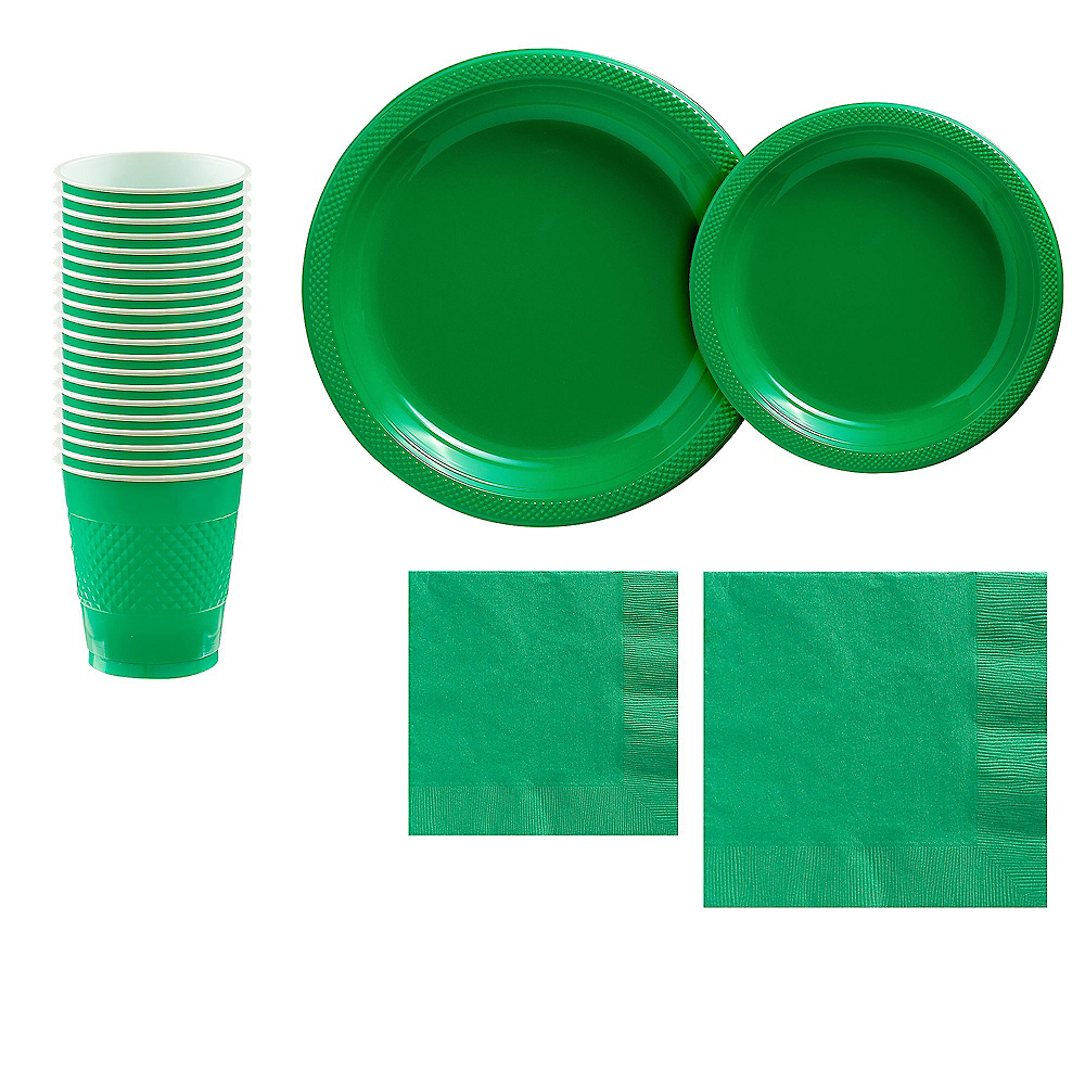 Festive Green Plastic Tableware Kit for 20 Guests Image #1