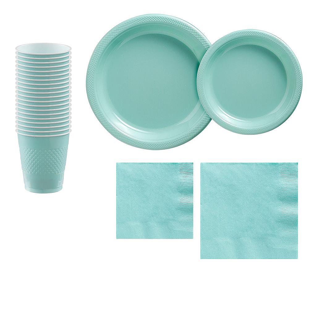 Robin's Egg Blue Plastic Tableware Kit for 20 Guests Image #1