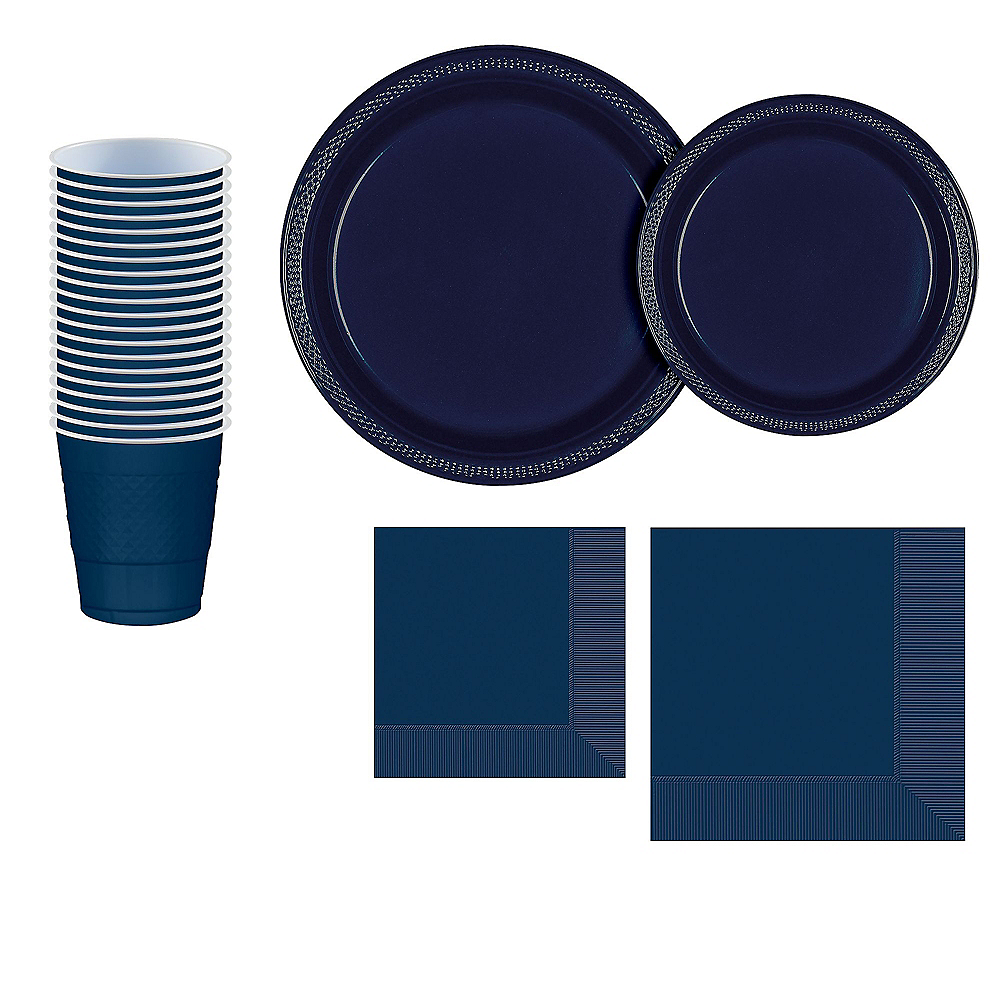 True Navy Plastic Tableware Kit for 20 Guests Image #1