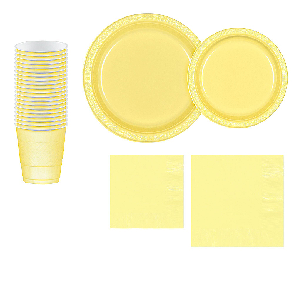 Light Yellow Plastic Tableware Kit for 20 Guests Image #1