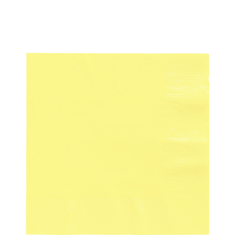 Light Yellow Plastic Tableware Kit for 20 Guests Image #5