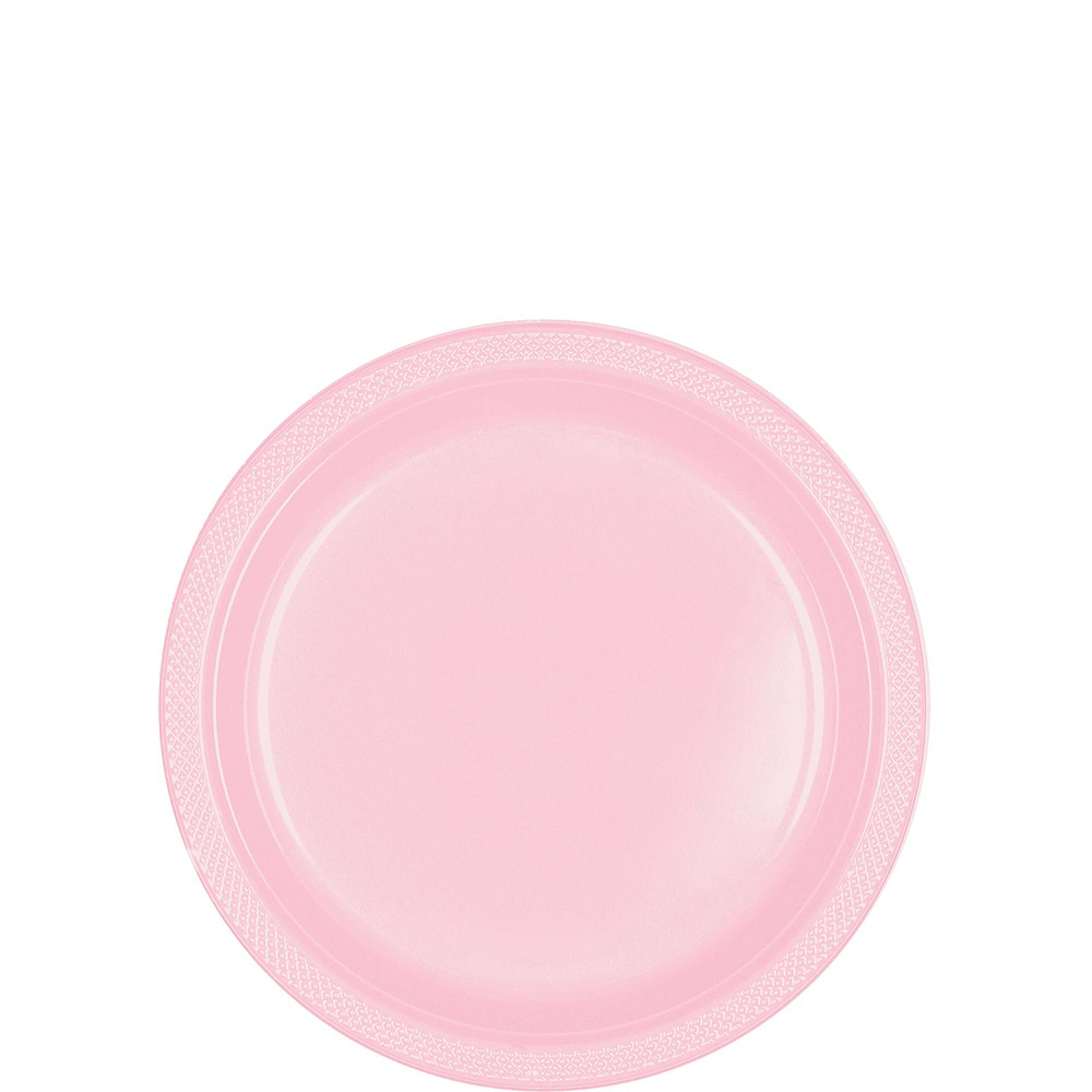 Blush Pink Plastic Tableware Kit for 20 Guests Image #2
