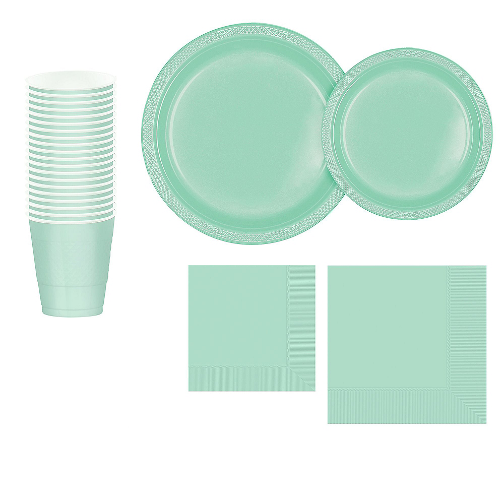 Mint Green Plastic Tableware Kit for 20 Guests Image #1