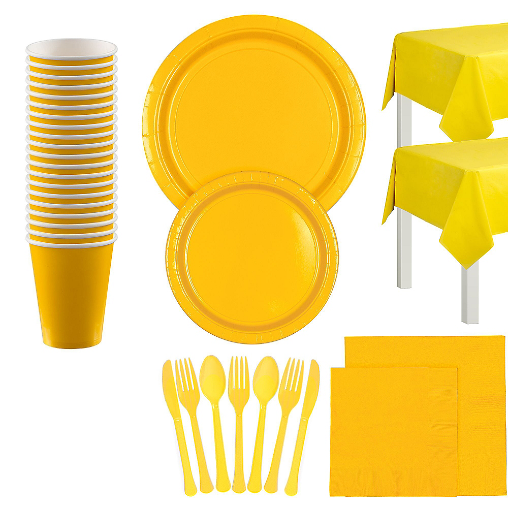 Sunshine Yellow Tableware Kit for 20 Guests Image #1