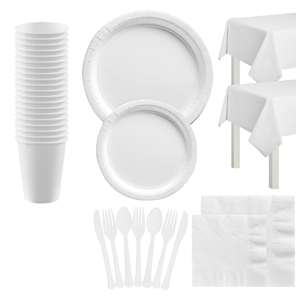 White Tableware Kit for 20 Guests Image #1