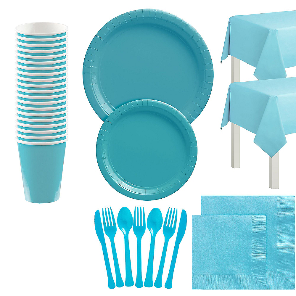 Caribbean Blue Tableware Kit for 20 Guests Image #1