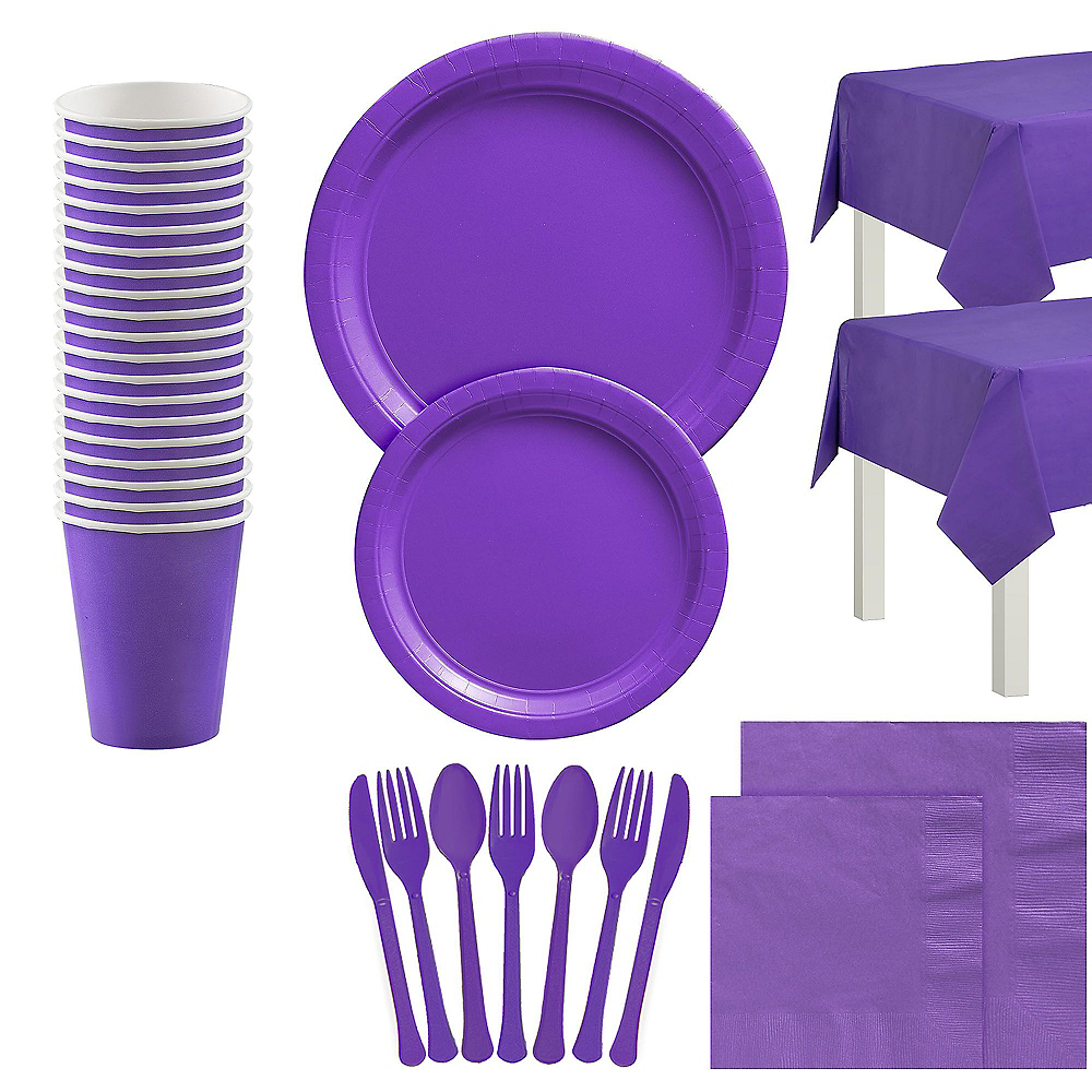 Purple Tableware Kit for 20 Guests Image #1