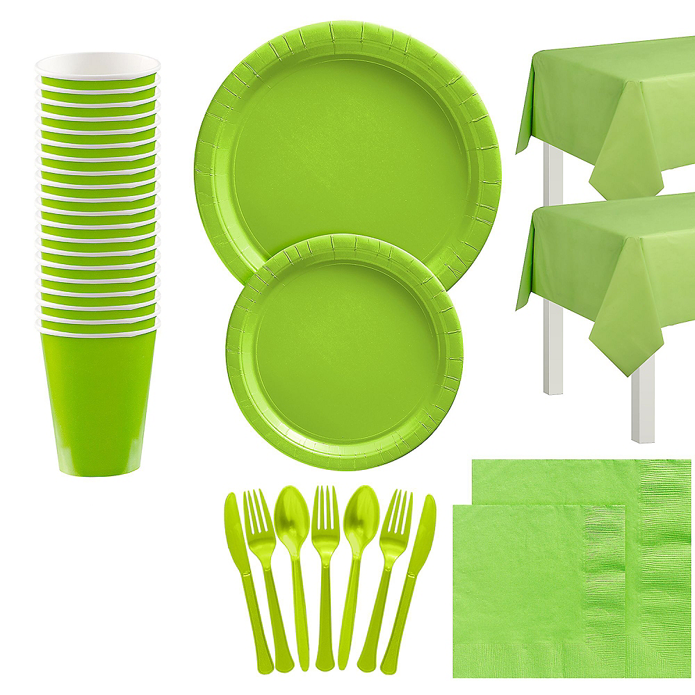 Kiwi Green Tableware Kit for 20 Guests Image #1