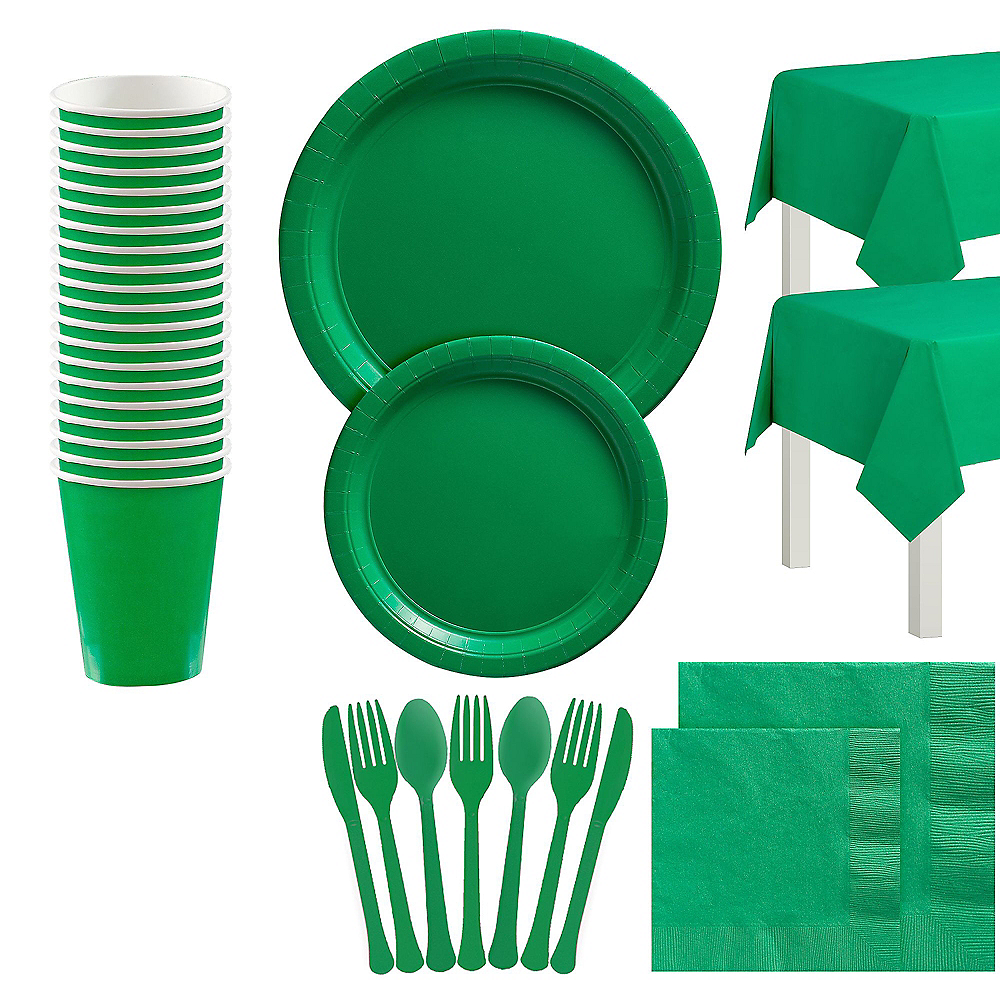 Festive Green Tableware Kit for 20 Guests Image #1