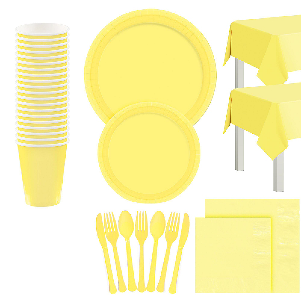 Light Yellow Tableware Kit for 20 Guests Image #1