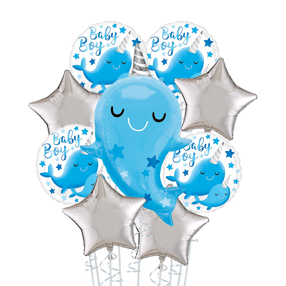 Narwhal Baby Boy Deluxe Balloon Bouquet, 9pc Image #1