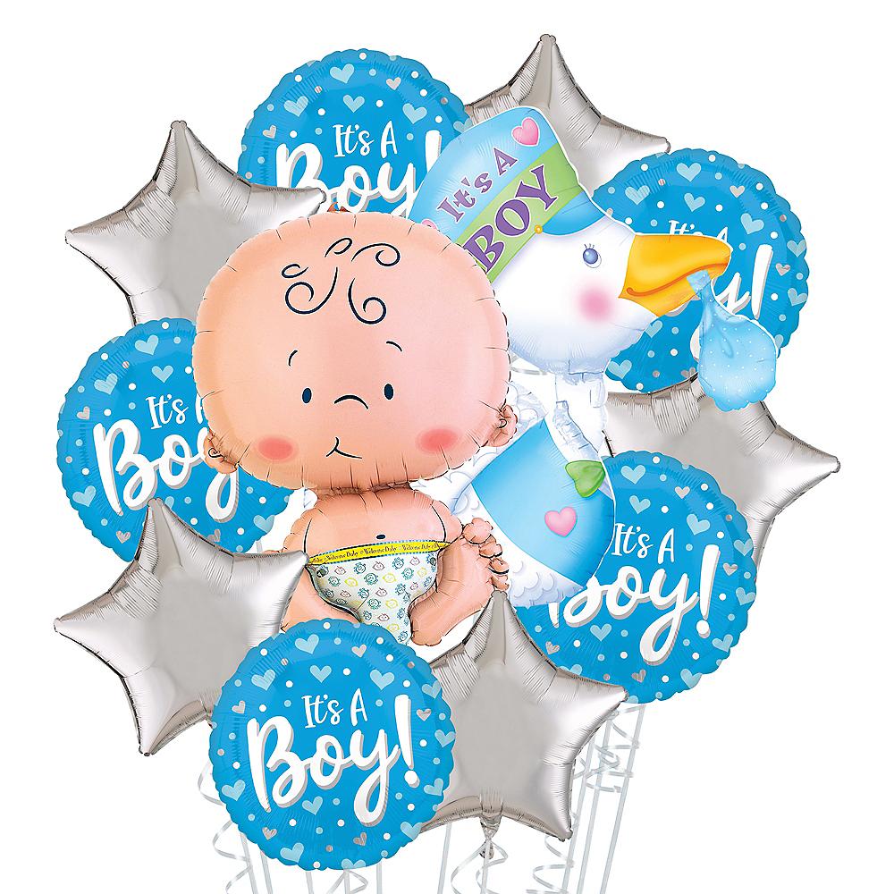 It's a Boy Stork Deluxe Balloon Bouquet, 12pc Image #1