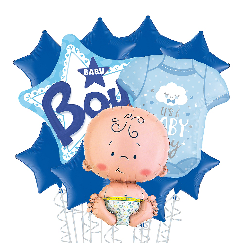 Baby Boy Star Deluxe Balloon Bouquet, 11pc Image #1