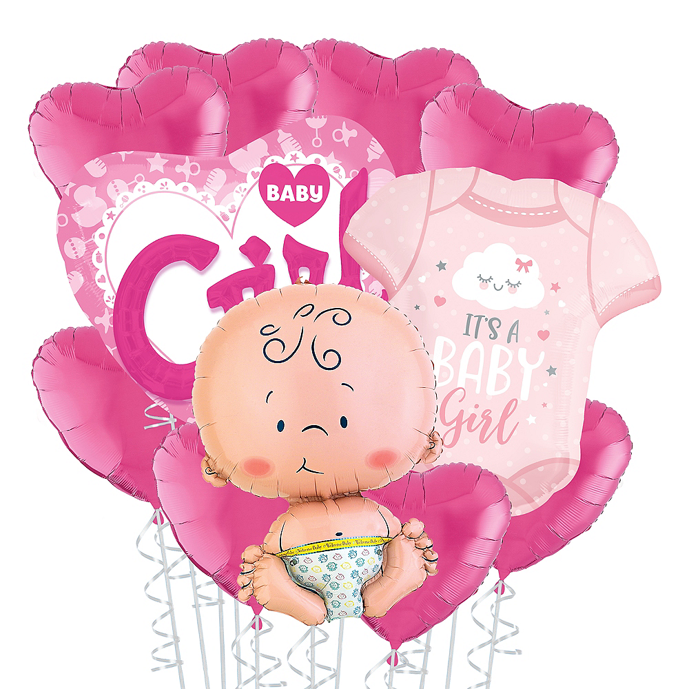 Baby Girl Heart Deluxe Balloon Bouquet, 11pc Image #1