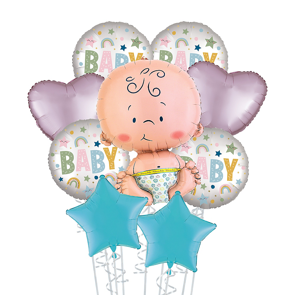 Dot, Rainbow & Star Baby Deluxe Balloon Bouquet, 9pc Image #1