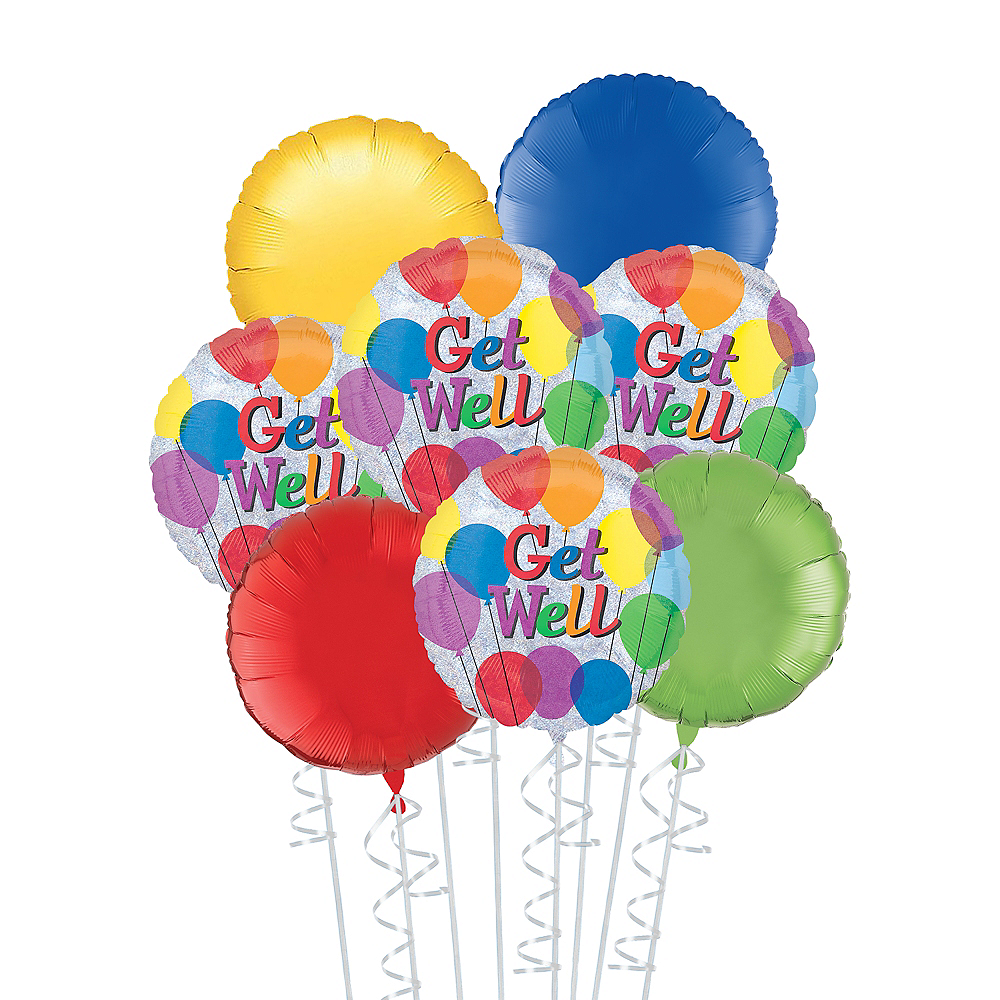 Rainbow Get Well Deluxe Balloon Bouquet, 8pc Image #1