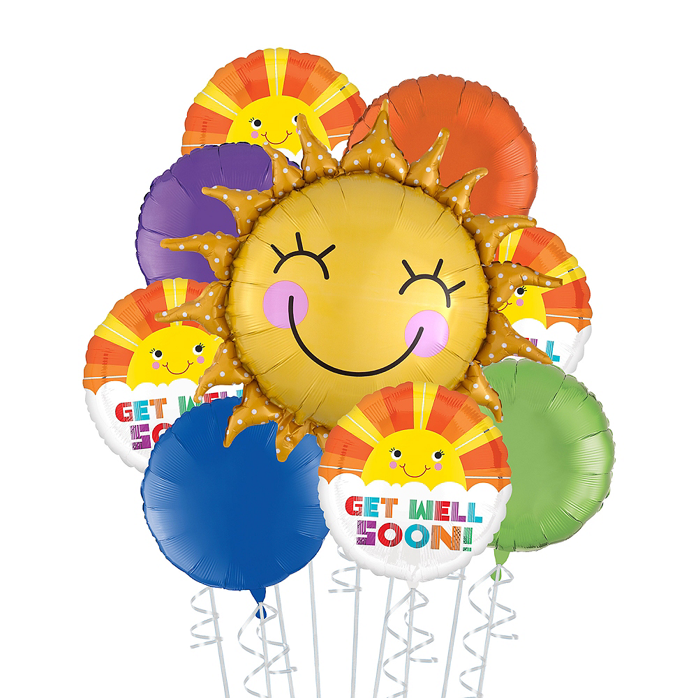 Multicolor Get Well Soon Sunshine Deluxe Balloon Bouquet, 9pc Image #1