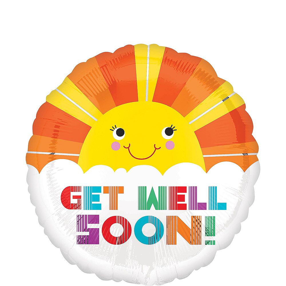 Multicolor Get Well Soon Sunshine Deluxe Balloon Bouquet, 9pc Image #5