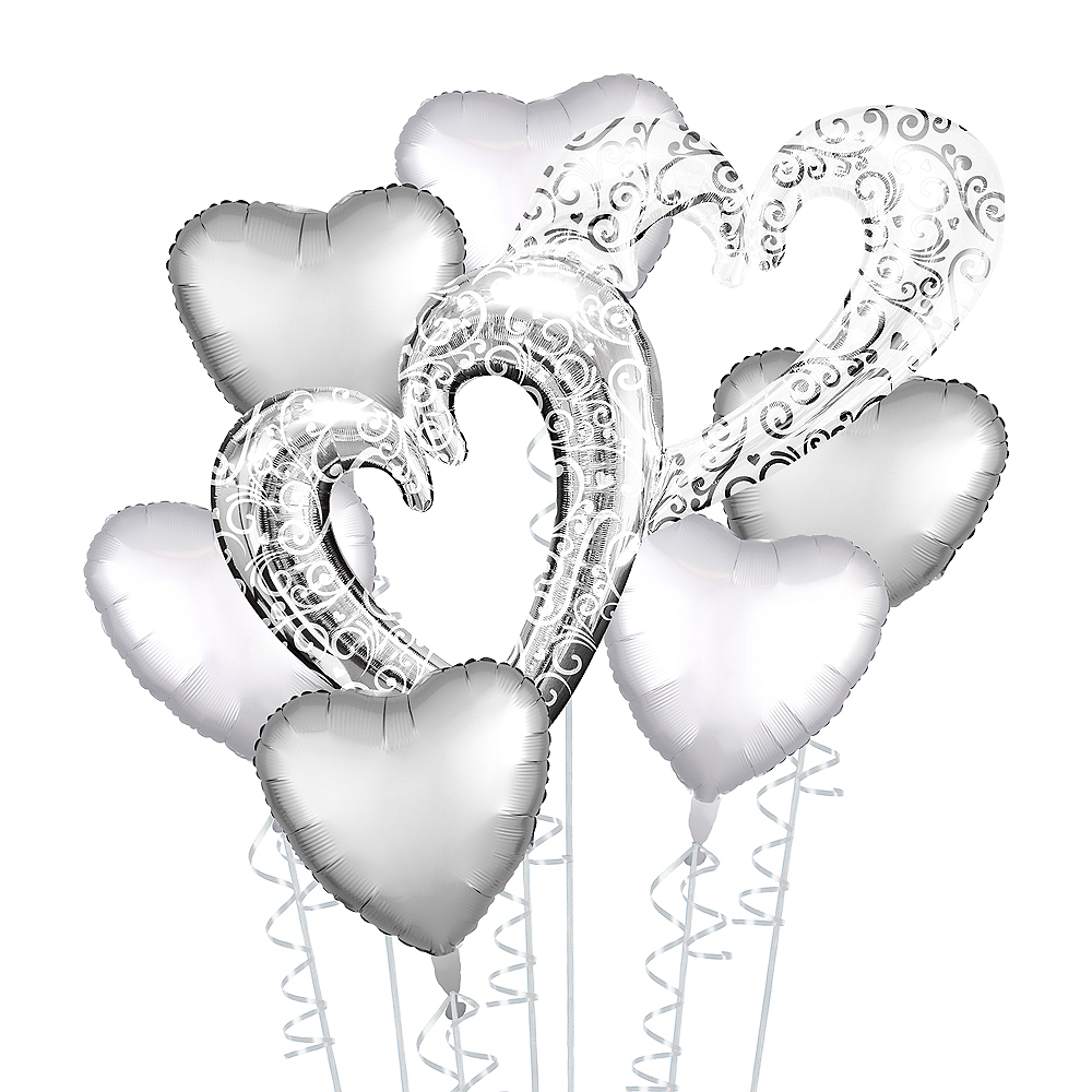 Silver Heart Deluxe Balloon Bouquet, 7pc Image #1