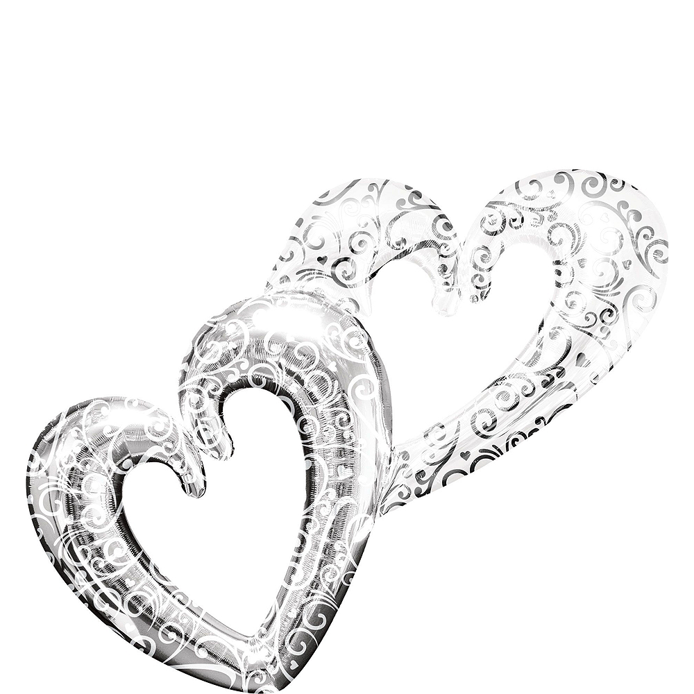 Silver Heart Deluxe Balloon Bouquet, 7pc Image #2