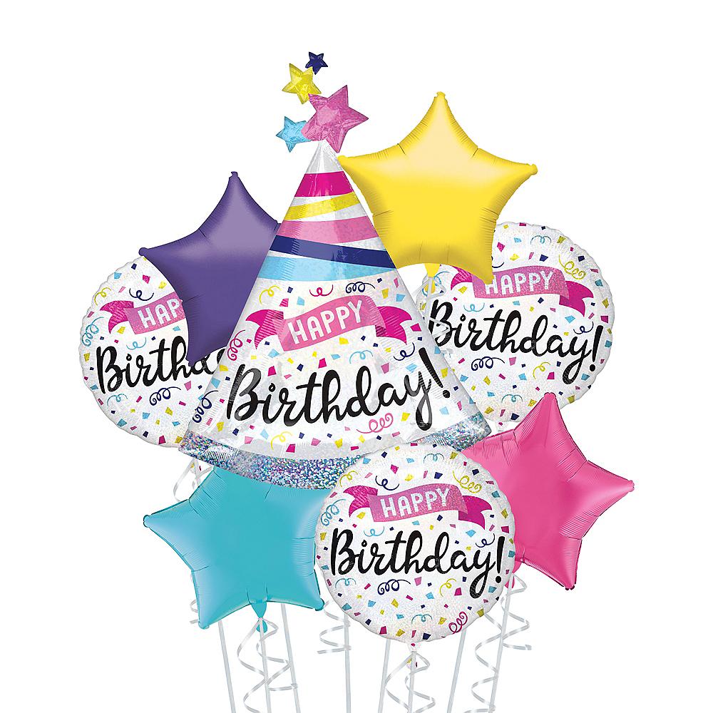Prismatic Confetti Happy Birthday Deluxe Balloon Bouquet, 8pc Image #1