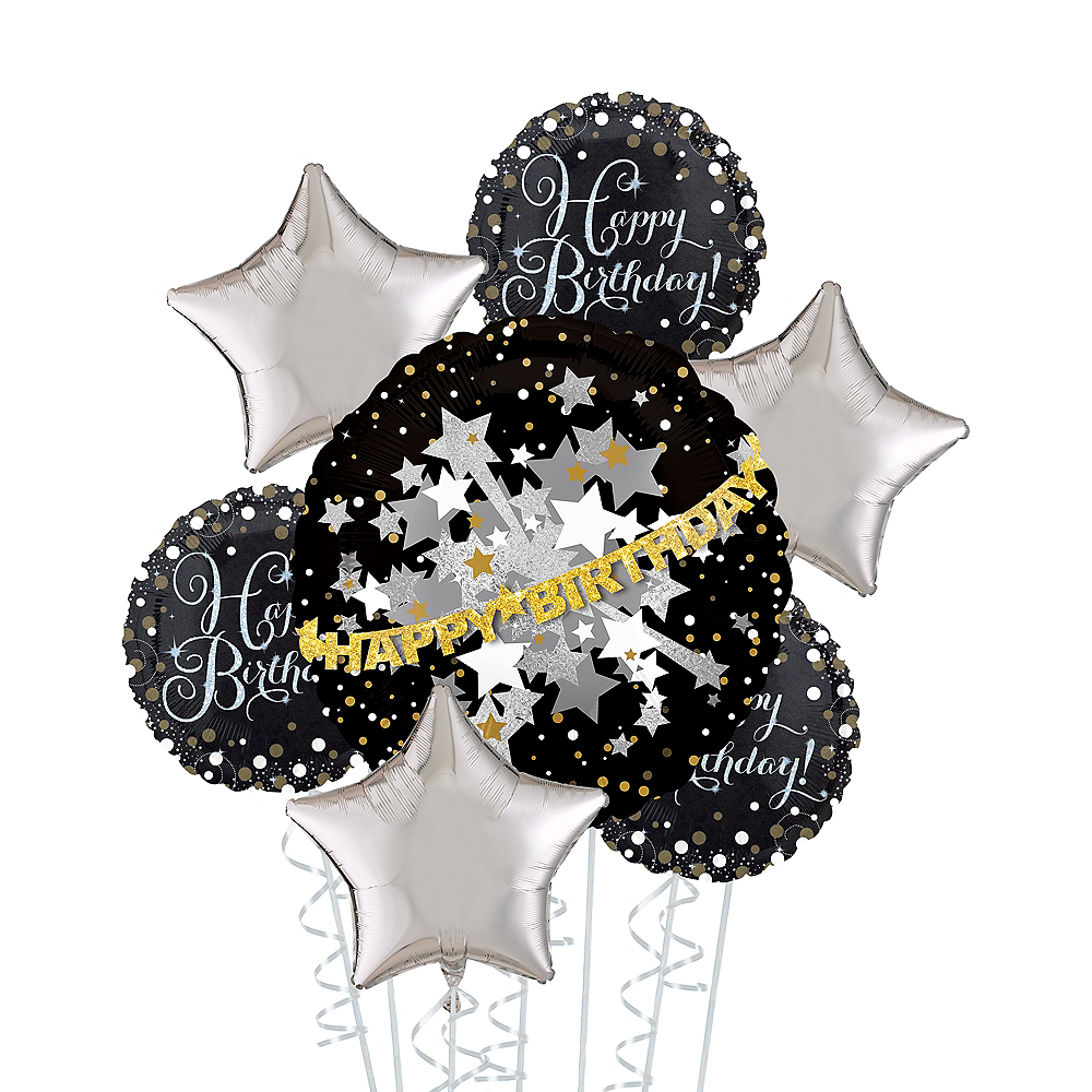 Prismatic Black, Silver & Gold Happy Birthday Deluxe Balloon Bouquet, 7pc Image #1