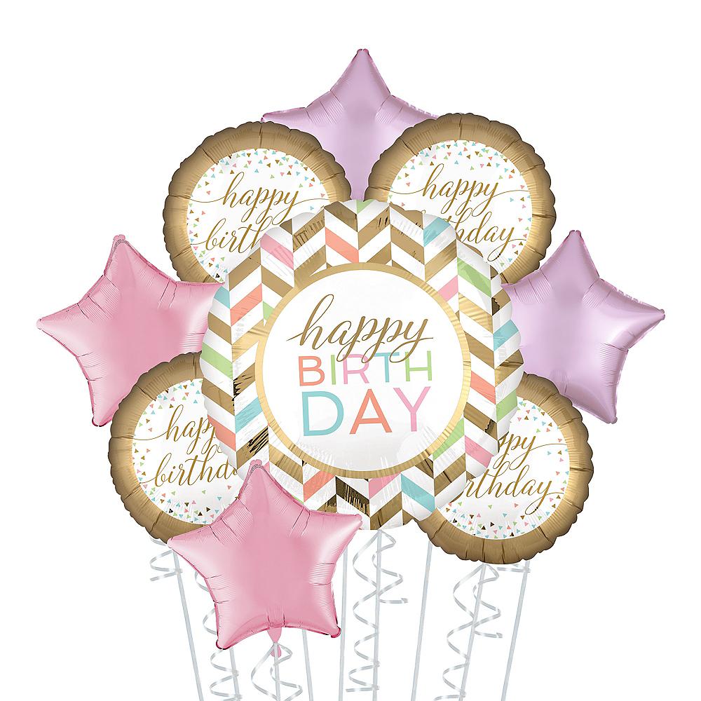 Gold & Pastel Happy Birthday Deluxe Balloon Bouquet, 9pc Image #1