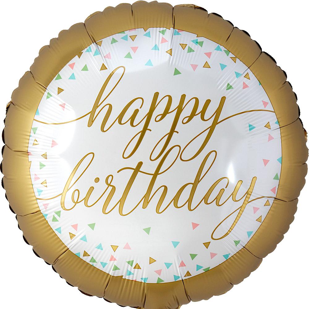 Gold & Pastel Happy Birthday Deluxe Balloon Bouquet, 9pc Image #2