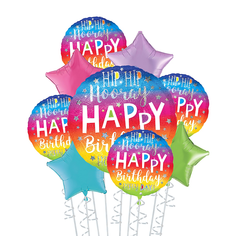 Rainbow Hip Hip Hooray Happy Birthday Deluxe Balloon Bouquet, 9pc Image #1
