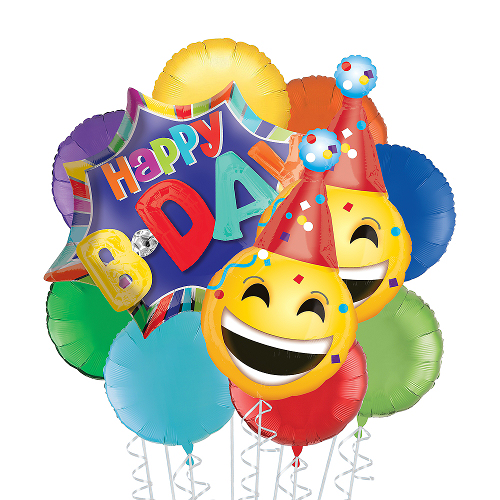 Rainbow Happy B-day Smiley Deluxe Balloon Bouquet, 11pc Image #1