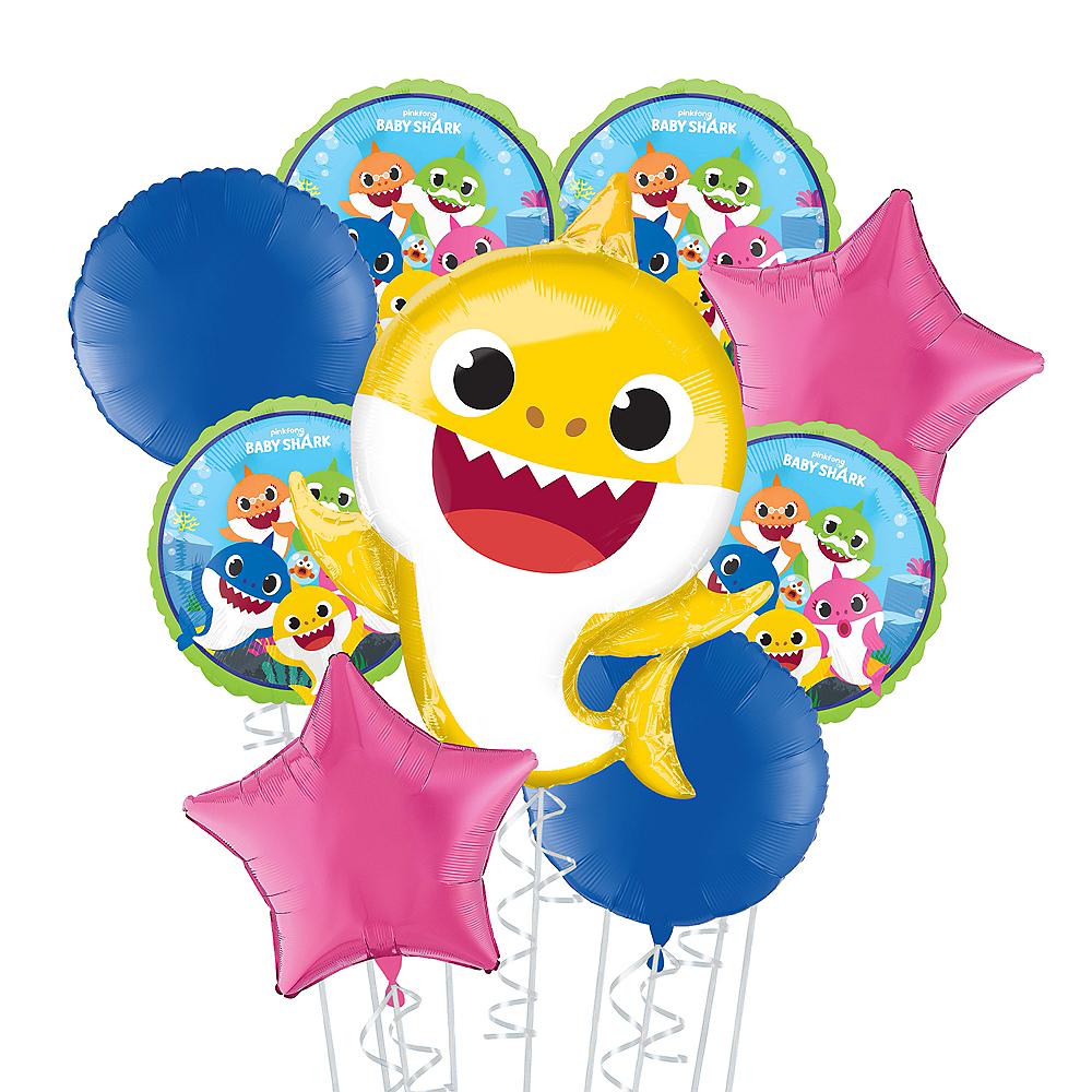 Baby Shark Deluxe Balloon Bouquet, 9pc Image #1