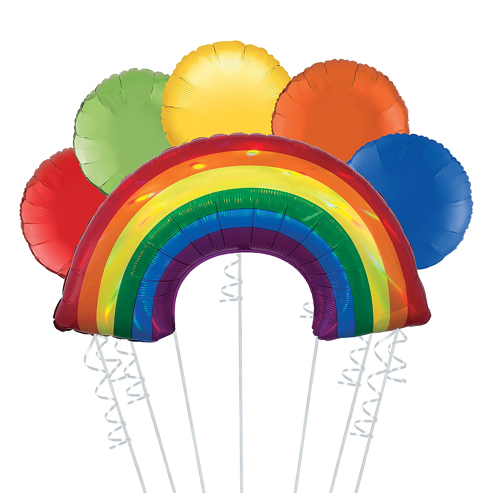Nav Item for Rainbow Deluxe Balloon Bouquet, 6pc Image #1