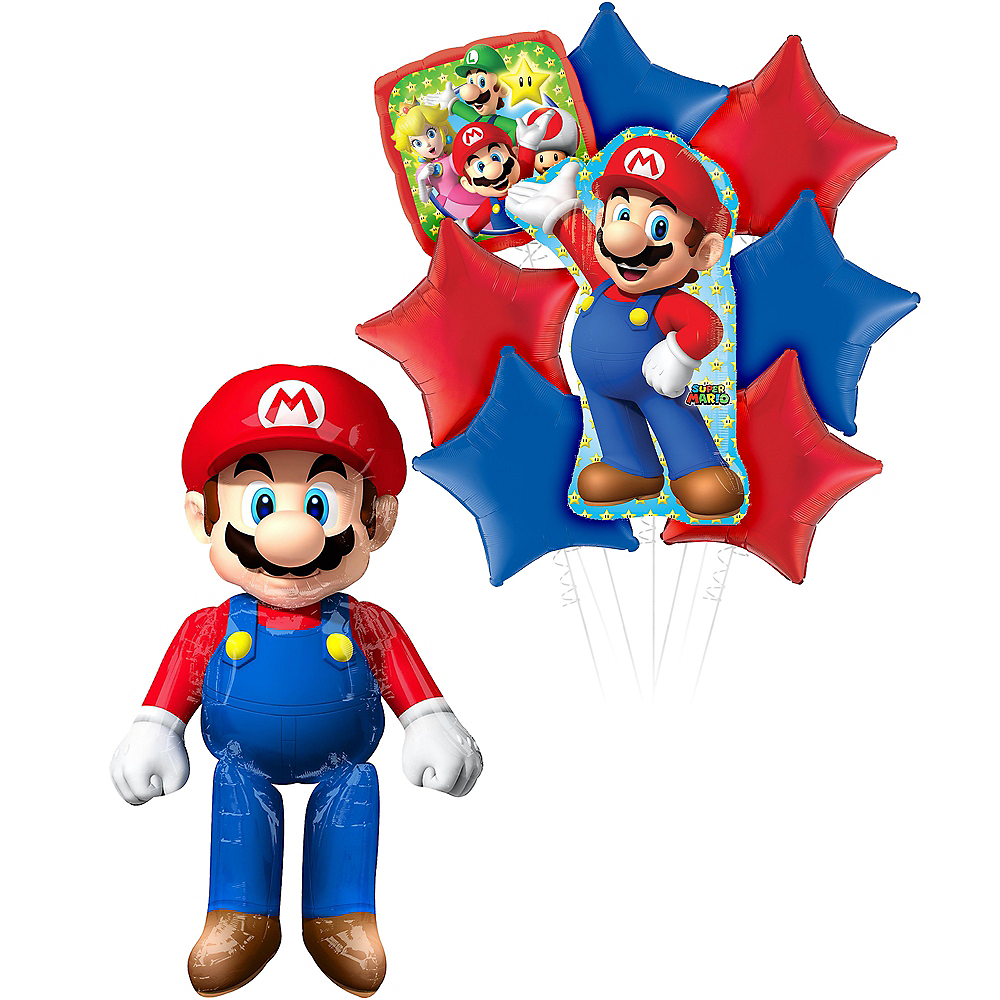 Nav Item for Super Mario Deluxe Airwalker Balloon Bouquet, 9pc Image #1