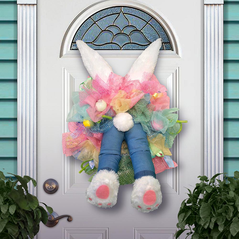 Animated Kicking Easter Bunny Wreath Image #1