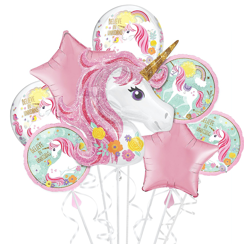 Magical Unicorn Deluxe Balloon Bouquet, 8pc Image #1
