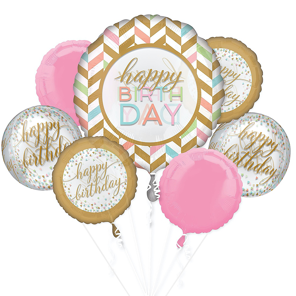 Pastel Confetti Deluxe Balloon Bouquet, 7pc Image #1
